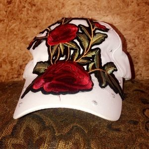 *SALE* GORGEOUS CRYSTAL BLING EMBROIDERED ROSE HAT